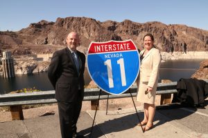 Nevada DOT's Sondra Rosenberg (right) is shown here with Michael Kies, Arizona DOT Assistant Director, Multimodal Planning. Rosenberg and Kies served as co-project managers on the I-11 & Intermountain West Corridor Study.