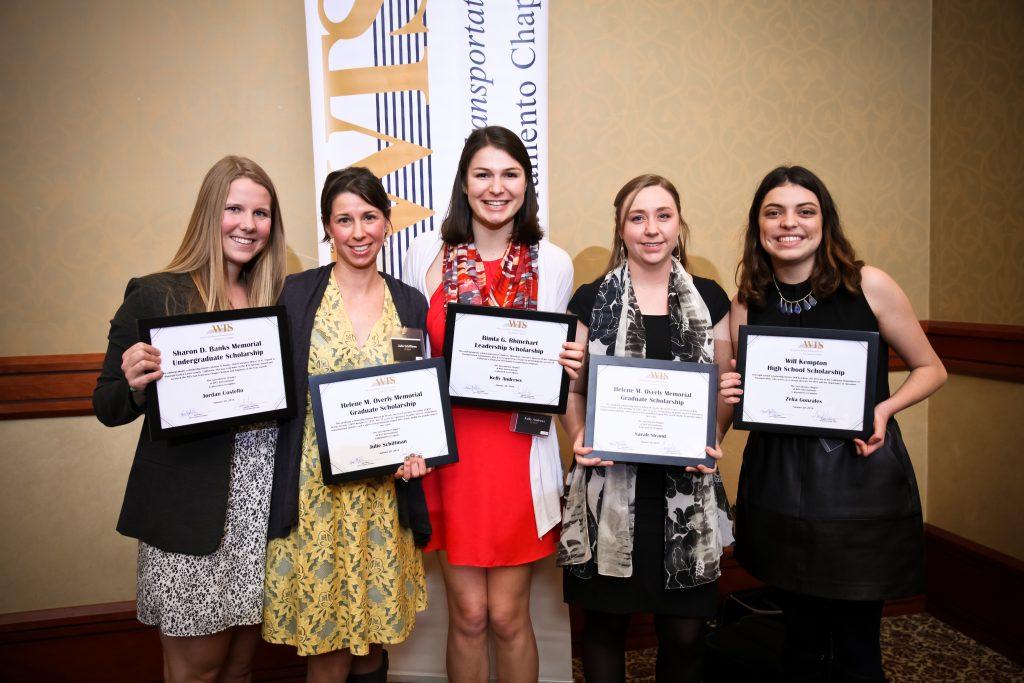 WTS Sacramento undergraduate and graduate scholarship winners (from left): Jordan Costello, Julie Schiffman, Kelly Andrews, and Sarah Strand—along with high school scholarship winner, Zelia Gonzales.