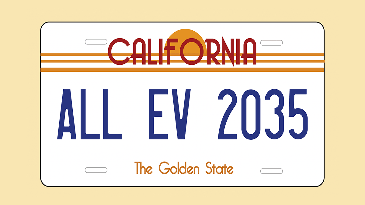 California license plate ALL EV 2035
