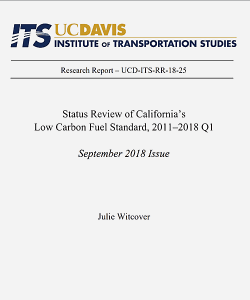 Cover: Status Review of California's Low Carbon Fuel Standard, 2011-2018