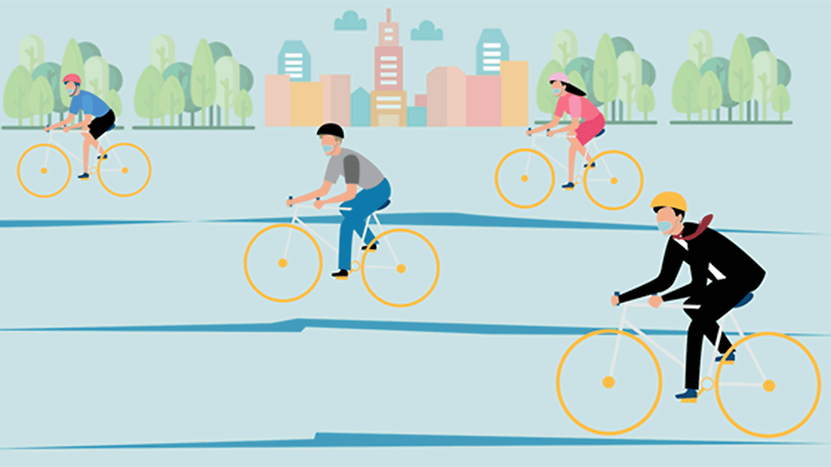 Illustration of cyclists on road
