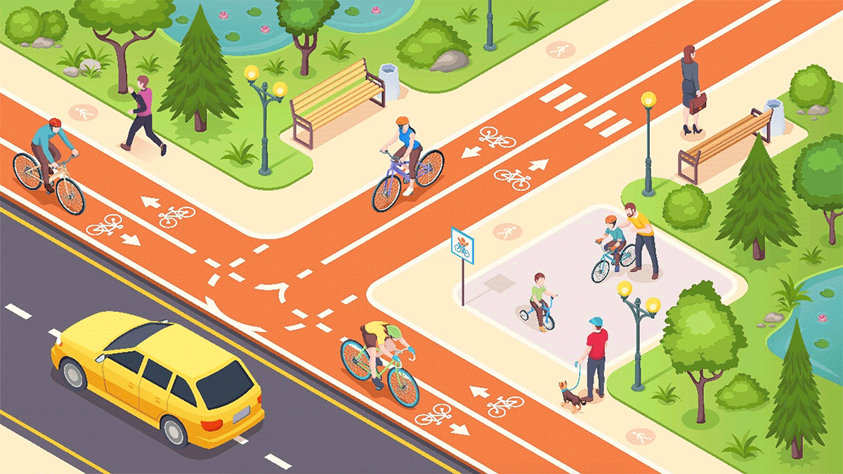 Cyclists on bike path approaching an intersection