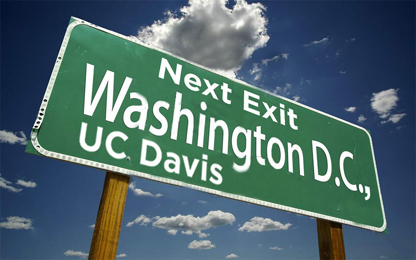 "Image of freeway sign reading ""Next Exit: Washington D.C., UC Davis"" highlighting the Institute of Transportation Studies' presence at the 98th meeting of the TRB"